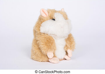 Hamster soft toy on a white background