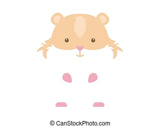 Hamster. White hamster with brown spots on a white...