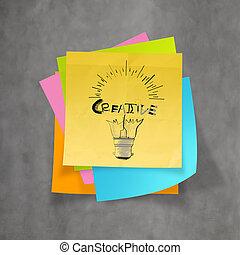 han, getrokken, gloeilamp, en, creatief, woord, ontwerp, op, memo , papier, achtergrond, als, concept