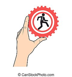 han holding a gear wheels with pictogram man executive inside