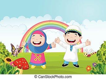 han, musulman, onduler, heureux, dessin animé, gosse
