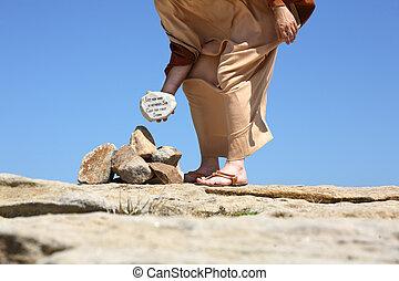 han, utan, synda, kast, sten