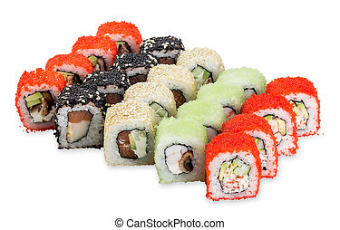 Hanabi Set sushi rolls - isolated on white background