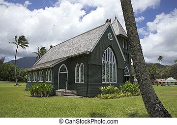 hanalei, zielony, kościół