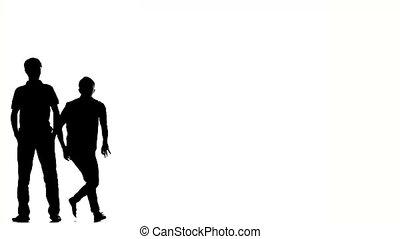 hanche, danse, hommes, deux, break-dancers, houblon, blanc, élégant, silhouette, acrobatique