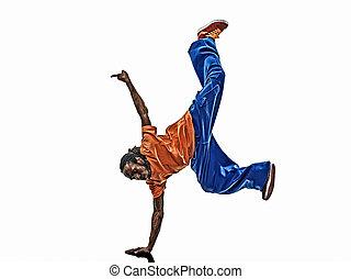 hanche, danseur, jeune, coupure,  Breakdancing, houblon, acrobatique,  handstand, homme