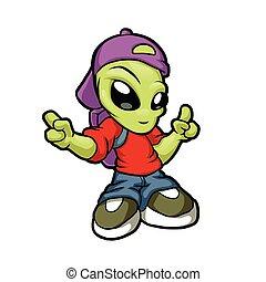 hanche, dessin animé, houblon, alien.