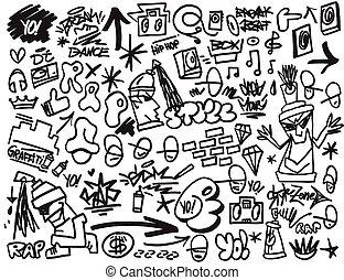 hanche, ensemble, rap, icônes, graffiti, houblon, musique