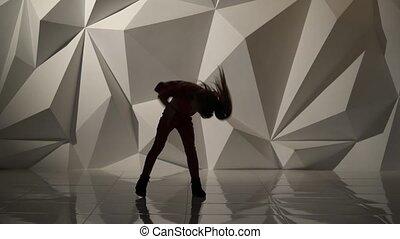 hanche, fond, résumé, silhouette., danses, houblon, bébé, géométrique