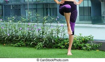 hanche, joint., rééducation, exercice