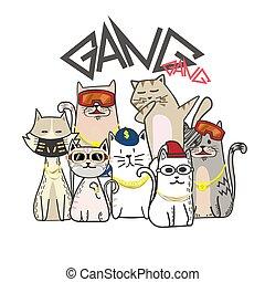 hanche, mignon, style, cartoon., main, bande, houblon, dessiné, chat