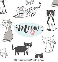 hanche, mignon, style, cartoon., main, houblon, dessiné, chat