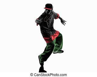 hanche,  silhouette, danseur, jeune, coupure,  Breakdancing, houblon, acrobatique, homme
