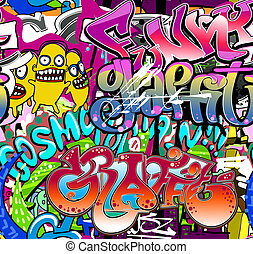 hanche, urbain, art, seamless, texture, wall., arrière-plan., vecteur, graffiti, houblon