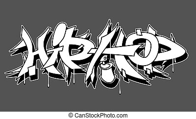hanche, urbain, illustration, vecteur, graffiti, houblon
