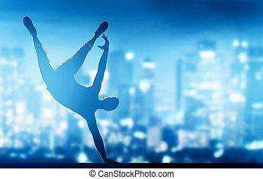 hanche, ville, danse, jeune, coupure, lumières, exécuté,...