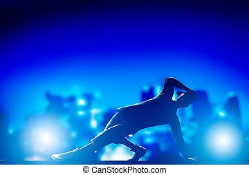 hanche, ville, danse, lumières, jeune, coupure, exécuté,...
