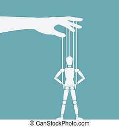 hanches, marionnette, mains, debout