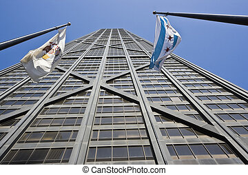 Hancock Tower and flags of Illinois and Chicago - Hancock...