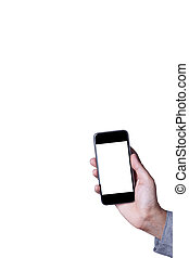 Hand a part of body man holding smartphone isolated on white background with space for copy.
