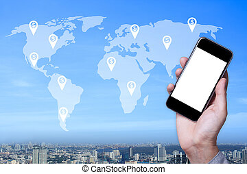 Hand a part of man holding smartphone empty screen with cityscape and map world background.