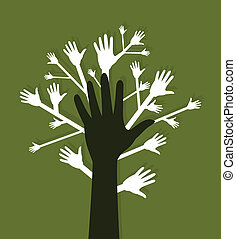 Hand a tree on a green background. A vector illustration