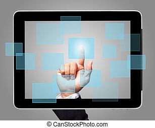 hand, aanraakscherm, met, feitelijk, pictogram