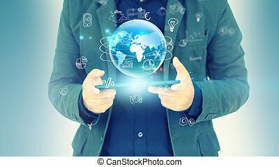 hand, aanraakscherm, smart, phone.digital, technologie, concept, media, netwerk