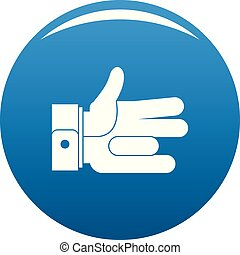 Hand abstract icon blue vector