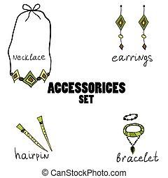 hand, accessories., kvinnor, oavgjord, boho
