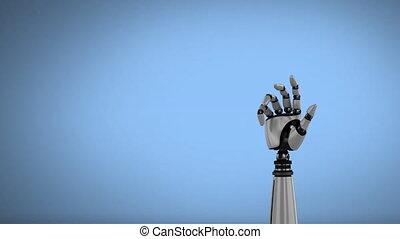 hand, achtergrond, robot, hemelblauw