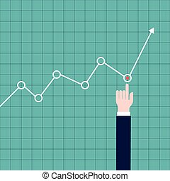 Hand adjusting a graph - Illustration of a hand adjusting a...
