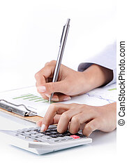 hand analyzing income earnings - business concept of hand...