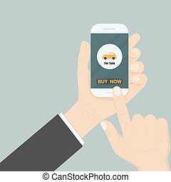 Hand and a car icon on smart phone.Businessman hand and online shopping website on smart phone.Online shopping application on smart phone.Advertising campaign symbol.Online shopping and e-commerce icon concept .