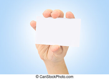 Hand and a card isolated on blue