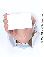 Hand and a card