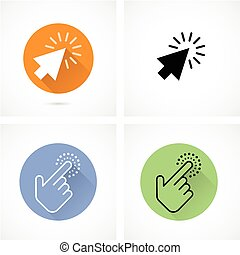 Hand and arrow cursor with click
