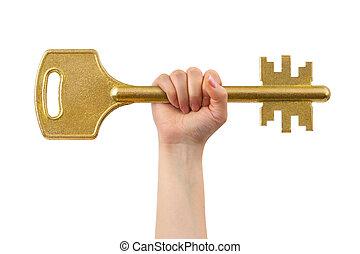 Hand and big key