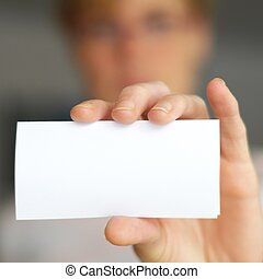 hand and blank paper with copyspace