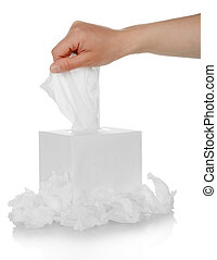 Hand and box with facial wipe - Male hand pulling white...