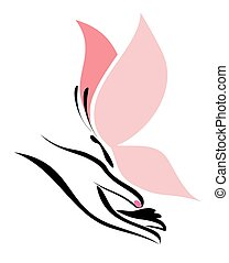 hand and butterfly vector symbol