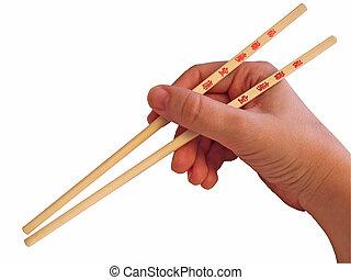 Hand and chopsticks - A hand holding chopsticks