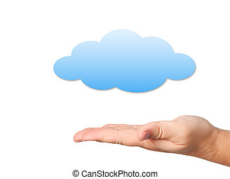 Hand and cloud on white background