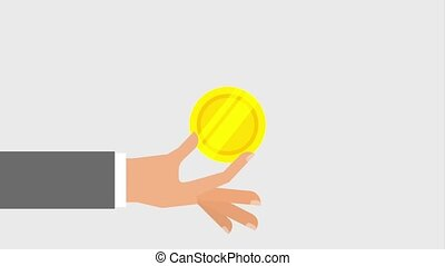 hand and coin icons - coin falling into hand icons animation...