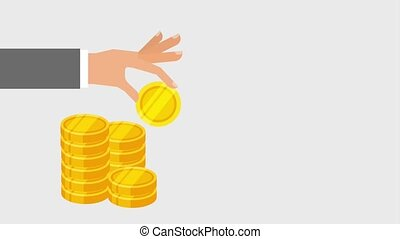 hand and coin icons - hand and coins icons animation design