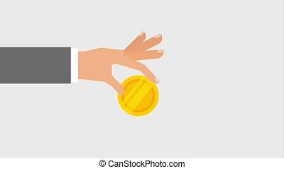 hand and coin icons - hand holding coin icons animation...