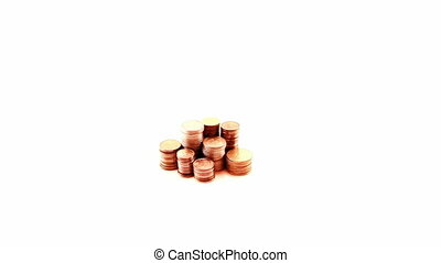 Hand and coins, isolated
