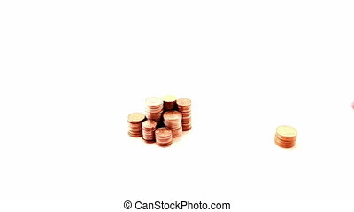 Hand and coins, isolated on white