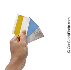 hand and credit cards