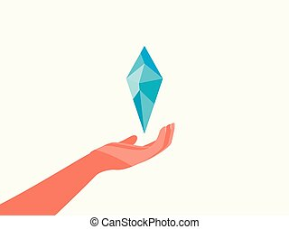 Hand and diamond, to give a precious crystal. Flat silhouette isolated on white background. Vector illustration